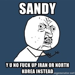 Y U No - sandy y u no fuck up iran or north korea instead