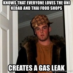 Scumbag Steve - Knows that everyone loves the uni kebab and thai food shops creates a gas leak