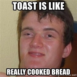 really high guy - TOAST IS LIKE REALLY COOKED BREAD