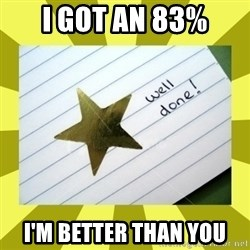 Gold Star - Well Done - I got an 83% I'm better than You