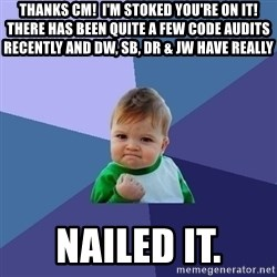 Success Kid - Thanks CM!  I'm stoked you're on it!  There has been quite a few code audits recently and DW, SB, DR & JW have really  NAILED IT.