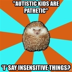 "Autistic Hedgehog - ""Autistic kids are pathetic"" *I* say insensitive things?"