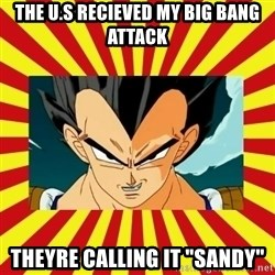 "Dragon Ball Z - The u.s rECIEVED MY BIG BANG ATTACK tHEYRE CALLING IT ""SANDY"""