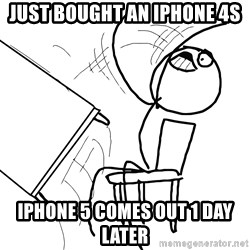 Desk Flip Rage Guy - just bought an iPhone 4s iphone 5 comes out 1 day later