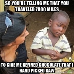 Skeptical 3rd World Kid - So you're telling me that you traveled 7000 miles to give me refined chocolate that I hand picked raw