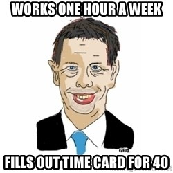 Vita Kränkta Mannen - Works one hour a week FilLs out time card for 40