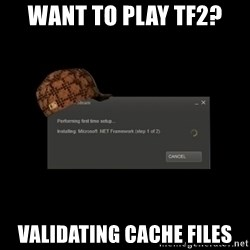 Scumbag Steam - want to play tf2? validating cache files