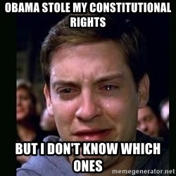 crying peter parker - Obama stole my constitutional rights but i don't know which ones