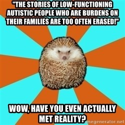 "Autistic Hedgehog - ""The stories of low-functioning autistic people who are burdens on their families are too often erased!"" Wow, have you even actually met reality?"
