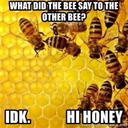 Honeybees - WHAT DID THE BEE SAY TO THE OTHER BEE? IDK.             HI HONEY