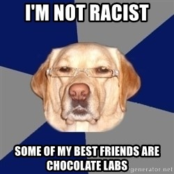 Racist Dog - i'm not racist some of my best friends are chocolate labs