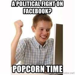 Computer kid - A political fight on facebook? popcorn time