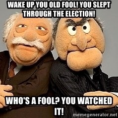 Statler_and_Waldorf - Wake up you old fool! you slept through the election! who's a fool? you watched it!