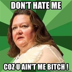 Dumb Whore Gina Rinehart - DON'T HATE ME  COZ U AIN'T ME BITCH !
