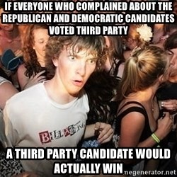 Sudden Realization Ralph - If everyone who complained about the republican and democratic candidates voted third party A third party candidate would actually WIN