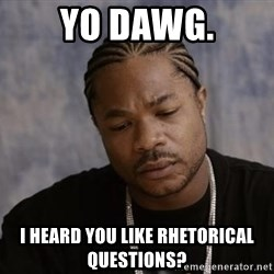 Yo Dawg - Yo dawg. I heard you like rhetorical questions?