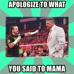 CM Punk Apologize! - APOLOGIZE TO WHAT YOU SAID TO MAMA