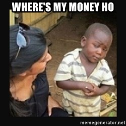 African little boy - where's my money ho
