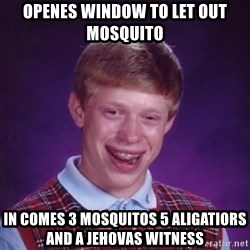 Bad Luck Brian - openes window to let out mosquito in comes 3 mosquitos 5 aligatiors and a jehovas witness