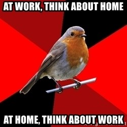 Retail Robin - at work, think about home at home, think about work