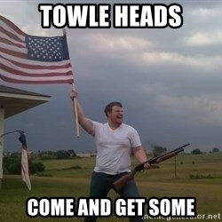 american flag shotgun guy - TOwle heAds Come anD get some