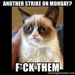 Frowning Cat - Another strike on monday? F*ck Them