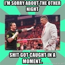 CM Punk Apologize! - I'M SORRY ABOUT THE OTHER NIGHT SHIT GOT CAUGHT IN A MOMENT..