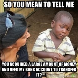 Skeptical 3rd World Kid - So you mean to tell me You acquired a large amount of money and need my bank account to transfer it?