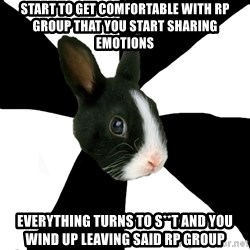 Roleplaying Rabbit - Start to get comfortable with rp group that you start sharing emotions everything turns to s**t and you wind up leaving said rp group