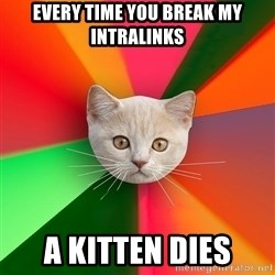 Advice Cat - every time you break my intralinks a kitten dies