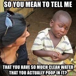 Skeptical 3rd World Kid - So you mean to tell me that you have so much clean water that you actually poop in it?