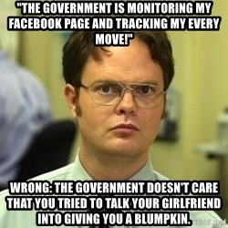 "Dwight Schrute - ""The government is monitoring my facebook page and tracking my every move!"" Wrong: The government doesn't care that you tried to talk your girlfriend into giving you a blumpkin."