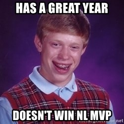 Bad Luck Brian - Has a great year doesn't win nl mvp