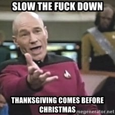 Captain Picard - slow the fuck down thanksgiving comes before christmas