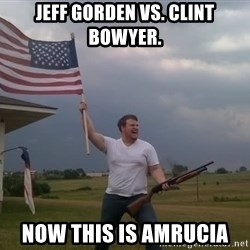 american flag shotgun guy - JEFF GORDEN VS. Clint Bowyer. NOW This is amrucia