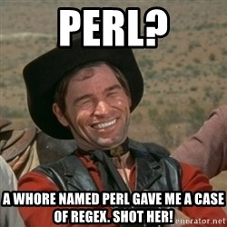 cowboy-coder - PERL? a whore named perl gave me a case of regex. shot her!