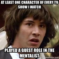 Conspiracy Keanu - at least one character of every tv show I watch played a guest role in the mentalist