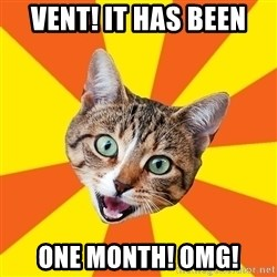 Bad Advice Cat - VENT! It has been one month! OMG!