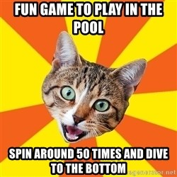 Bad Advice Cat - fun game to play in the pool spin around 50 times and dive to the bottom