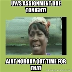 Sugar Brown - UWS assignment due tonight! Aint nobody got time for that