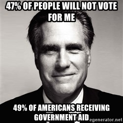 RomneyMakes.com - 47% of people will not vote for me 49% of Americans receiving government aid