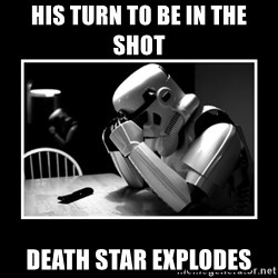 Sad Trooper - his turn to be in the shot death star explodes