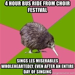 Choir Kiwi - 4 hour bus ride from choir festival sings les miserables wholeheartedly, even after an entire day of singing