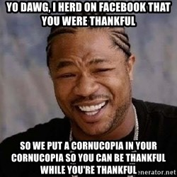 Yo Dawg - Yo dawg, I herd on facebook that you were thankful So we put a CORNUCOPIA in your cornucopia so you can be thankful while you're thankful