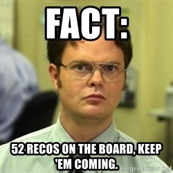 Dwight Meme - FACT: 52 Recos on the board, keep 'em coming.