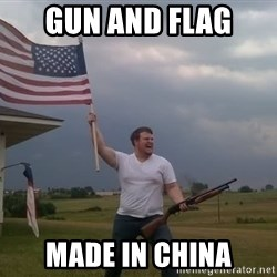 american flag shotgun guy - gun and flag made in china