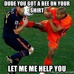 Netherlands - dude you got a bee on your shirt let me me help you