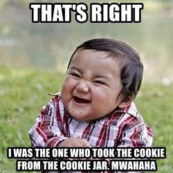 Niño Malvado - Evil Toddler - that's right I was the one who took the cookie from the cookie jar. mwahaha