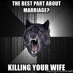 Insanity Wolf - The best part about marriage? killing your wife