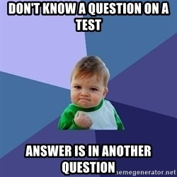 Success Kid - don't know a question on a test answer is in another question